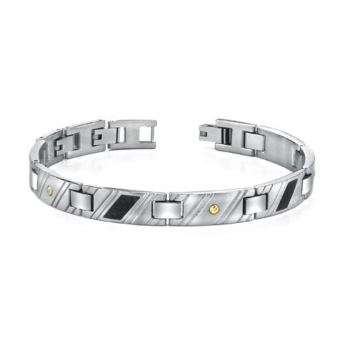 New Style Mens Stainless Steel Bracelet with 18 Karat Gold Rivets