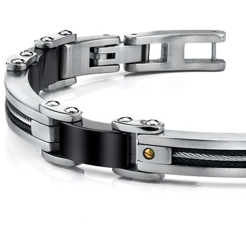 Oravo Stainless Steel Mens Bracelet with Twisted Cable and 18 Karat Gold Rivets