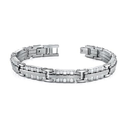 Sleek Stainless Steel Mens Bracelet with Ribbed Links