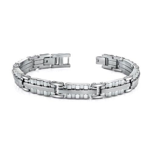 Sleek Stainless Steel Mens Bracelet with Ribbed Links