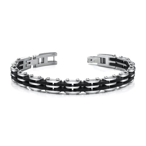 Sophisticated Mens Stainless Steel Bracelet with Black Carbon Fiber