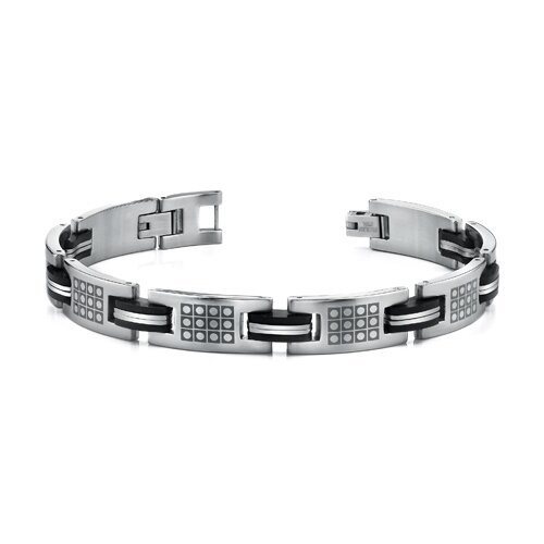 Unique Mens Stainless Steel Bracelet with Laser Etched Pattern