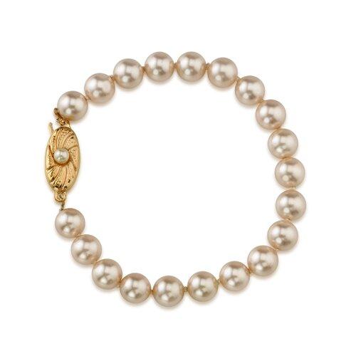 Single Strand 7.5mm Light Pink Color Round Majorca Cultured Pearl Bracelet