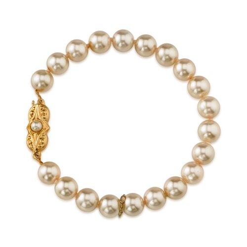 Single Strand 8mm Light Pink Color Round Majorca Cultured Pearl Bracelet
