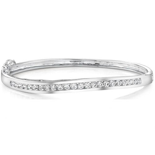 Oravo Everlastingly Beautiful Sterling Silver Channel-Set Cubic Zirconia Hinged Bangle Bracelet