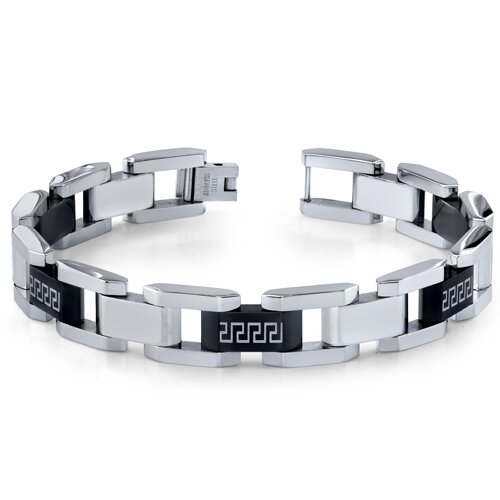 Oravo Mens Stainless Steel Black and Silver-Tone Greek Key Large Link Bracelet