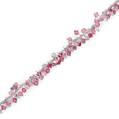 Pretty in Pink Sterling Silver Charm Bracelet with Swarovski Crystal Beads
