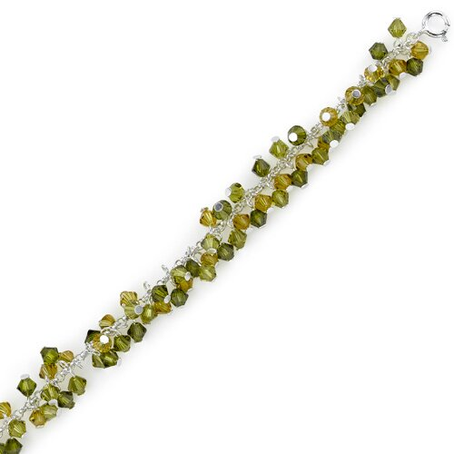 Oravo Green with Envy Sterling Silver Charm Bead Bracelet with Swarovski Crystals