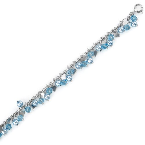 Oravo Heart of Blues Sterling Silver Charm Bracelet with Swarovski Crystals and Cultured Pearls