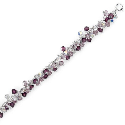 Oravo Lovely Lilac Sterling Silver Charm Bracelet with Swarovski Crystals and Pearls