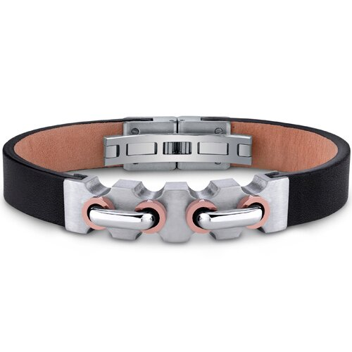 Oravo Mens Stainless Steel and Leather Bracelet with Raised Handlebar Motif and Rose Gold Accents