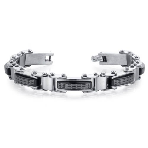 Distinguished Class Mens Brushed Stainless Steel and Ceramic Diamond Pattern Bracelet