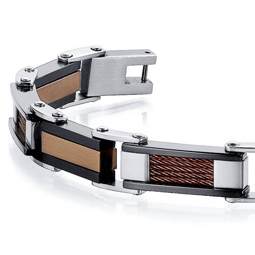 Oravo Sleek and Modern Class Three Tone Stainless Steel Coffee Color Cable and Ceramic Design Mens Bracelet