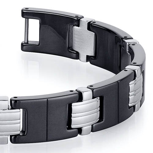 Oravo Classy Stainless Steel and Black Ceramic Mens  Bracelet