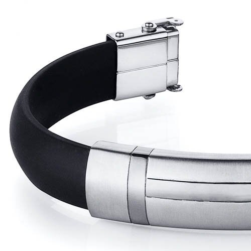 Oravo H Design Stainless Steel Black Rubber Mens Golf Bracelet