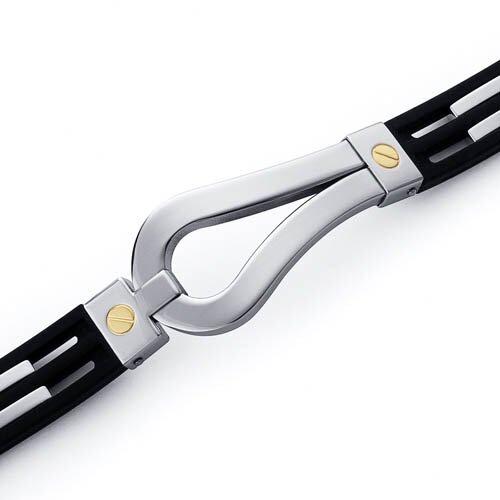 Art Deco Stainless Steel Black Rubber Mens Golf Bracelet