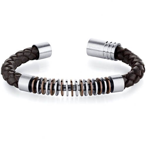 Mens Contemporary Chocolate Rings Round Woven Leather Bracelet
