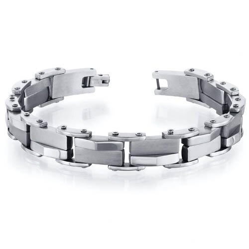 Oravo Masculine and Distinctive Stainless Steel Fancy Link Mens Bracelet