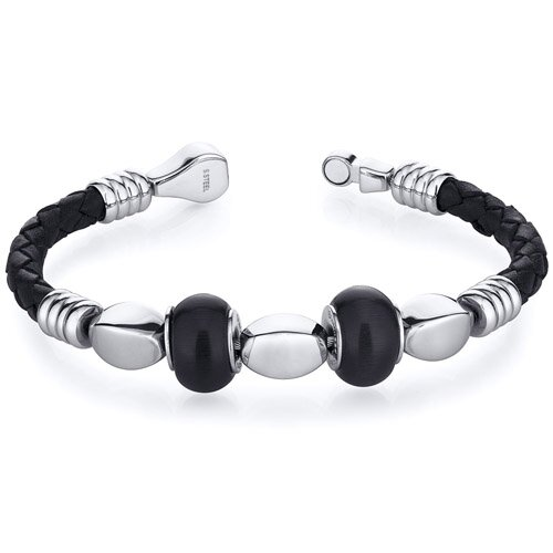 Oravo Jet Black Roundel Bead woven Leather Bracelet