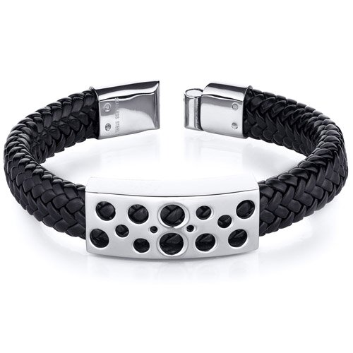 Oravo Mens Circle Motif Stainless Steel Black Woven Bracelet