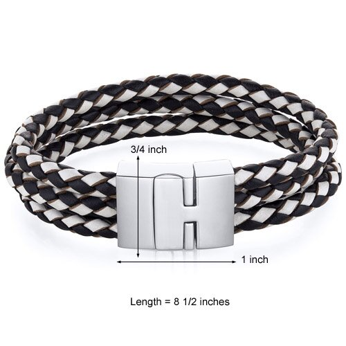 Oravo Mens Fancy Buckle Black and White Woven Leather Bracelet