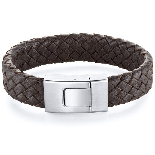 Oravo Mens Buckle style Brown Woven Leather and Steel Bracelet