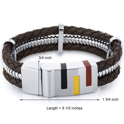Oravo Mens Art Deco Brown Woven Leather Stainless Steel Bracelet