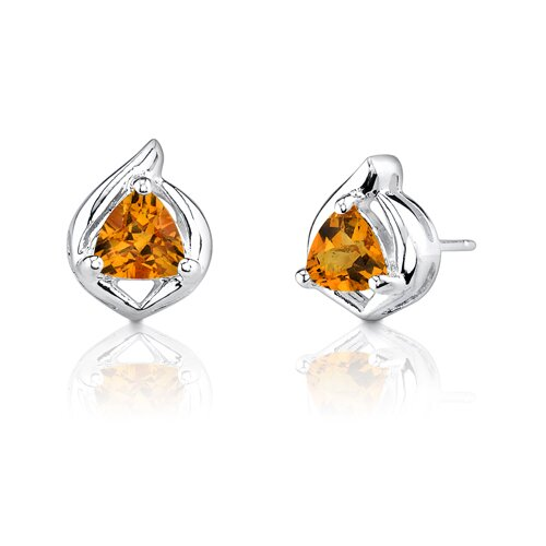 1.00 Carats Trillion Cut Citrine Earrings in Sterling Silver