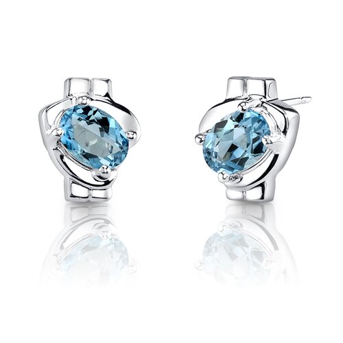 Oval Shape 2.00 Carats Swiss Blue Topaz Earrings in Sterling Silver