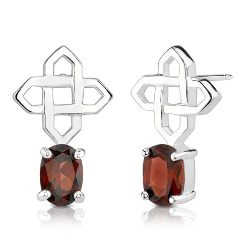 2.00 Carats Oval Shape Garnet Earrings in Sterling Silver