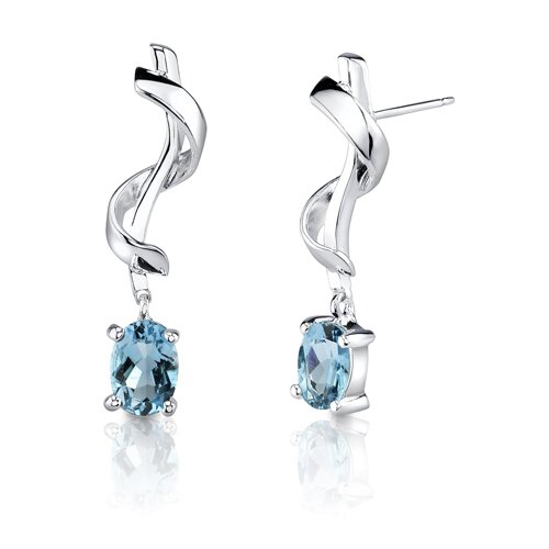 "Oravo 0.5""x1"" 2.00 Carats Oval Shape Swiss Blue Topaz Earrings in Sterling Silver"