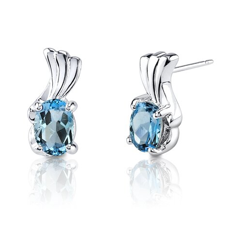 1.67g 2.00 Carats Oval Shape Swiss Blue Topaz Earrings in Sterling Silver