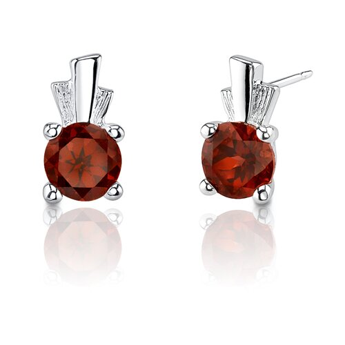 2.25 Carats Round Cut Garnet Earrings in Sterling Silver