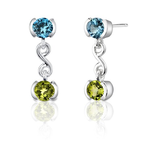 Oravo 2.25 Carats Round Shape Swiss Topaz and Peridot Earrings in Sterling Silver