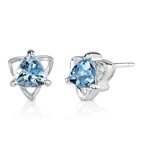 "Oravo 0.25""x0.25"" 1.00 Carats Trillion Cut Swiss Blue Topaz Earrings in Sterling Silver"