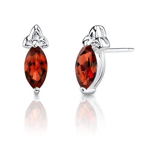 1.25 Carats Marquise Shape Garnet Earrings in Sterling Silver