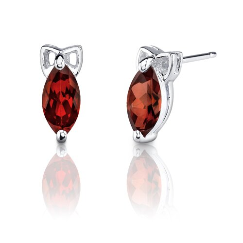1.25 Carats Marquise Cut Garnet Earrings in Sterling Silver