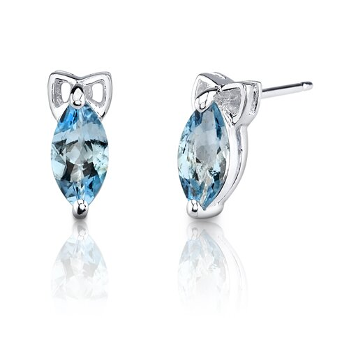 Oravo 1.25 Carats Marquise Shape Swiss Blue Topaz Earrings in Sterling Silver