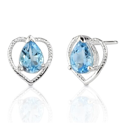 1.75 Carats Pear Shape Swiss Blue Topaz Earrings in Sterling Silver
