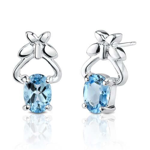 2.36g 2.00 Carats Oval Shape Swiss Blue Topaz Earrings in Sterling Silver