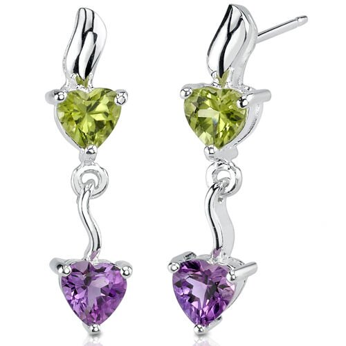 1.75 Carats Heart Shape Gemstone Earrings in Sterling Silver