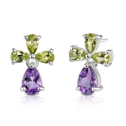 2.50 Carats Pear Shape Amethyst Peridot Earrings in Sterling Silver