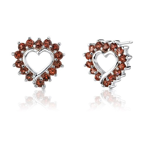2.47g 1.25 Carats Round Cut Garnet Earrings in Sterling Silver