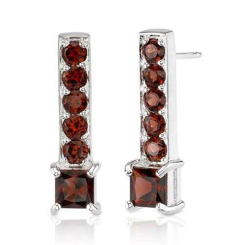 Oravo 3.50 Carats Princess and Round Cut Garnet Earrings in Sterling Silver