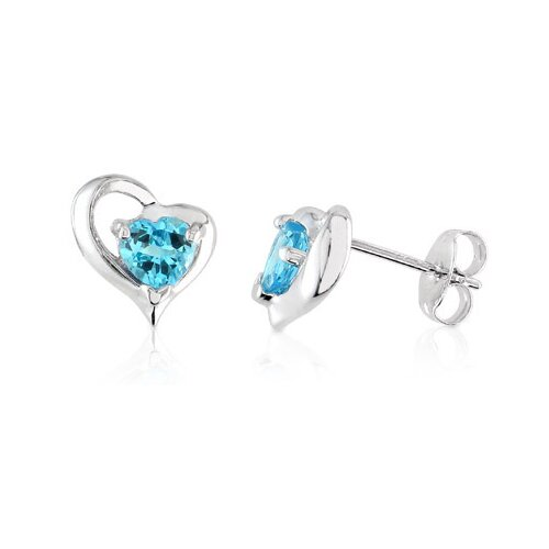 Heart Shape Swiss Blue Topaz Earrings Sterling Silver