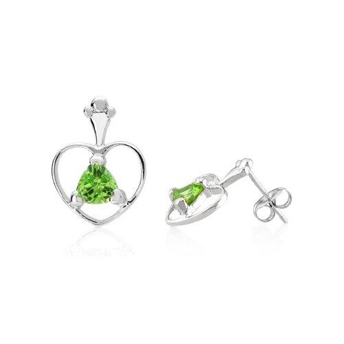 Trillion Cut Peridot Drop Earrings Sterling Silver