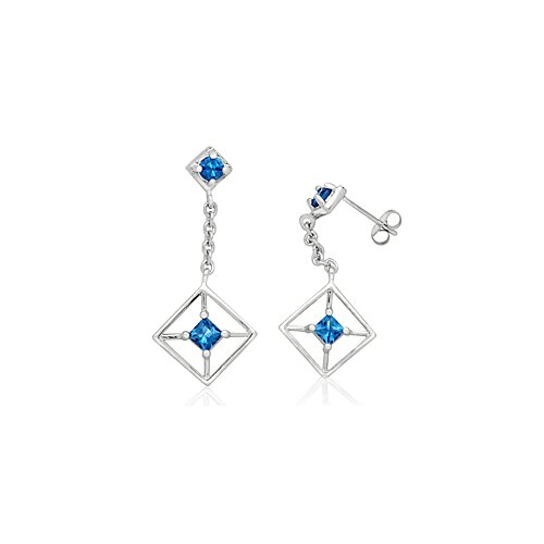 Oravo Round Princess Cut London Blue Topaz Dangling Earrings Sterling Silver