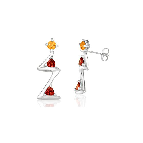 Oravo Radiant Trillion Cut Citrine Garnet Three-Stone Drop Earrings Sterling Silver