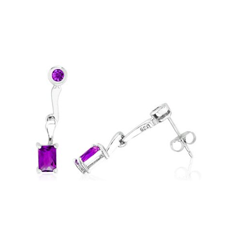 Round and Radiant Cut Amethyst Dangling Earrings Sterling Silver