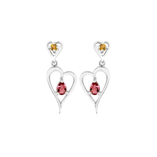 Multicut Citrine Garnet Dangling Heart Earrings Sterling Silver